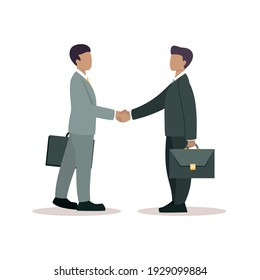 Business partnership. Illustration of business people in gray suits shaking hands. Flat design isolated on a white background. Vector 10 EPS.