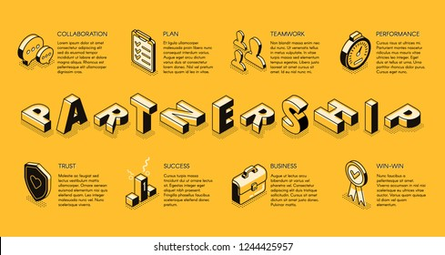 Business partnership line art, isometric vector banner. Corporate principles, business teams collaboration for better performance and success concept. Investment company, business courses landing page