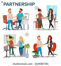 Business Partnership Set Vector. Business Man And Woman. Casual Handshaking. Connection. Isolated Flat Cartoon Illustration