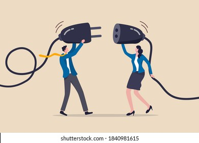 Business partnership, teamwork collaboration or work meeting and discussion to get solution concept, smart businessman and businesswoman, office people holding electric plug to connecting business.