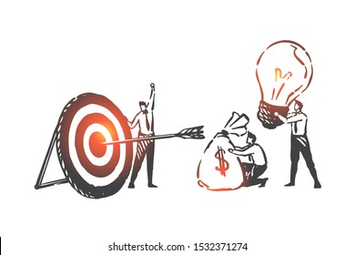 Business partnership, teamwork, overall success concept sketch. Hand drawn isolated vector