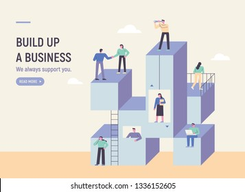 Business people above a stacked cubes. Web Main Page Concept. flat design style minimal vector illustration
