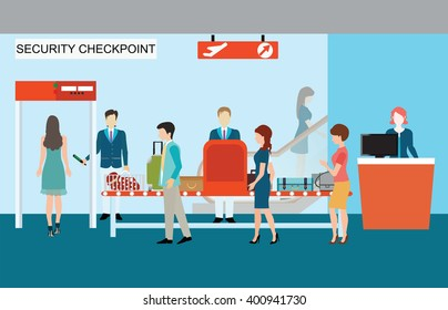 Business people in airport terminal, security check, checkpoint, security, security gate, airport security, business travel vector illustration.