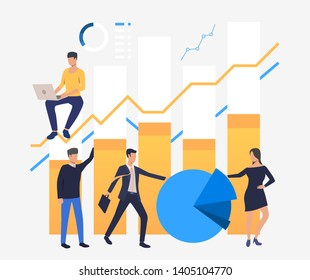 Business people analyzing financial bar, pie and line charts. Analytics, management, banking concept. Vector illustration can be used for topics like business, finance, analysis