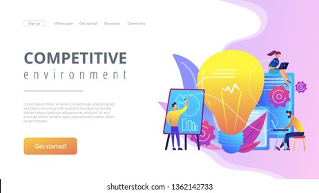 Business people analyzing and lightbulb. Competitive intelligence and environment, information and marketplace analysis concept on white background. Website vibrant violet landing web page template.