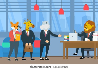 business people with animals head meeting in office