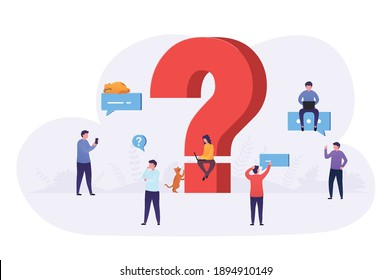 Business people ask questions using laptop, phone, look for answers around large question mark. Concept of frequently asked questions, information retrieval.