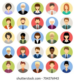 Business people avatars in a circle. Women and men office. Vector
