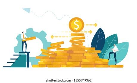 Business people, bankers working together for improving finances. Business concept illustration