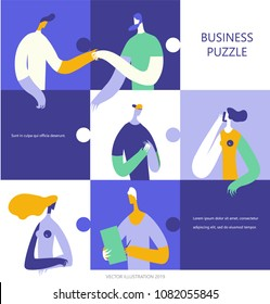 Business people in a blue puzzle collage. Vector illustration flat design. Use in Web Project and Applications.