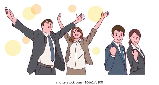 Business people of both sexes have their arms wide open and look successful. Male and female business people clench their fists and look confident.hand drawn style vector design illustrations.