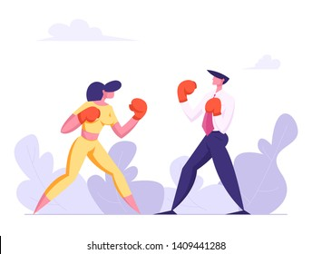 Business People Boxing. Man and Woman Fighting in Boxing Gloves. Business Competition, Challenge, Leadership Concept with Characters Fight. Vector flat illustration