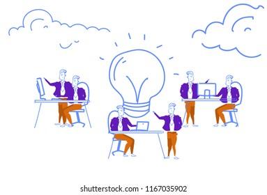 business people brainstorming process generating new idea light lamp innovation concept teamwork inspiration startup project horizontal sketch doodle vector illustration