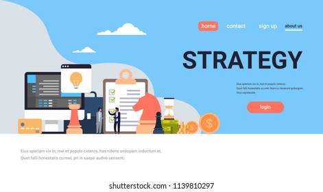 Business people brainstorming strategy concept project new idea start up flat horizontal full length copy space vector illustration