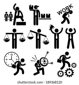 Business People Businessman Concept Stick Figure Pictogram Icon Cliparts