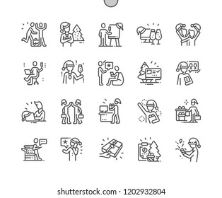 Business People Celebrate Merry Christmas And Happy New Year Well-crafted Pixel Perfect Vector Thin Line Icons 30 2x Grid for Web Graphics and Apps. Simple Minimal Pictogram