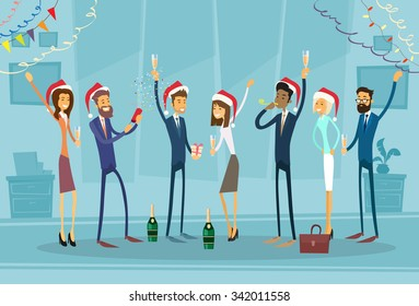 Business people Celebrate Merry Christmas And Happy New Year Office Business People Team Santa Hat Flat Vector Illustration