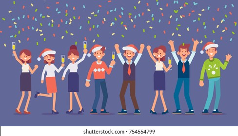 Business people Celebrate Merry Christmas And Happy New Year. People celebrating and having fun.   Flat Vector Illustration.
