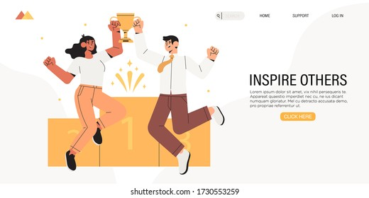 Business people celebrate victory. Characters hold golden cup. Achievement reward. Business man and woman jumping happy. First place, leadership, receive victory prize or team success concept banner.