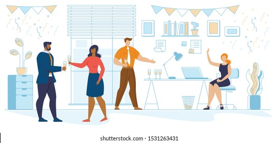 Business People Celebrating New Year Party in Office. Joyful Characters with Champagne Glasses Dancing and Having Fun on Christmas Corporate Event at Workplace Room. Cartoon Flat Vector Illustration