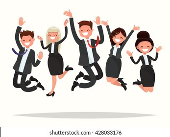 Business people celebrating a victory jump on a white background. Vector illustration of a flat design