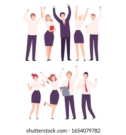 Business People Celebrating Victory Set, Office Team Achievements, Managers Characters Dressed in Formal Clothes Standing with Their Hands Up Flat Vector Illustration