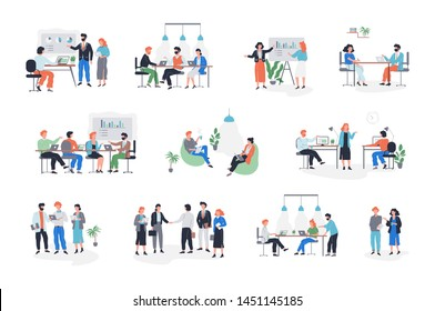 Business people character in office set. Person in suit doing different activities. Office presentation and finance operation. Vector illustration in cartoon style