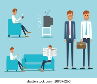 business people character on Daily life.business cartoon