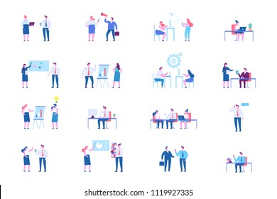 Business people character set. Teamwork. Working together in the company. Flat vector illustration isolated on white.