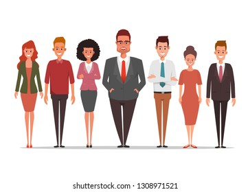 Business people character teamwork standing corporate.