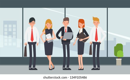 Business people character teamwork standing corporate. Office interior design. City view from building.
