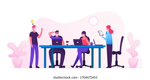 Business People Characters in Medical Masks Sitting at Desk at Board Meeting Discussing Idea in Office. Team Project Brainstorm, Teamwork Process during Covid19 Quarantine. Cartoon Vector Illustration