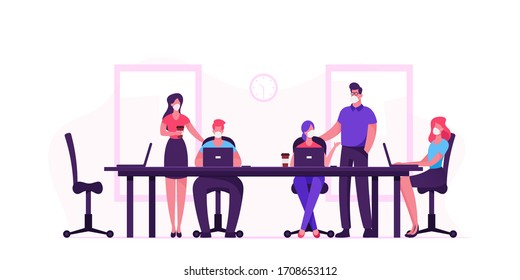 Business People Characters in Medical Masks Sitting at Desk during Board Meeting Discussing Idea in Office during Covid19 Pandemic. Team Project Development, Teamwork. Cartoon Vector Illustration