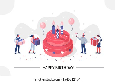 Business People Characters standing near Birthday Cake and Celebrating. Woman and Man holding Gift and Balloons. Friends Enjoying the Party. Happy Birthday Concept. Flat Isometric Vector Illustration.