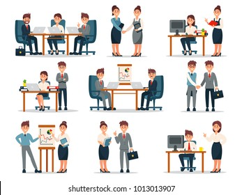 Business people characters at work set, male and female workers at workplace in office cartoon vector Illustrations