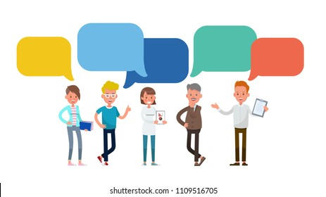 Business people with Chat Bubbles character vector design. For infographic, background and banner.