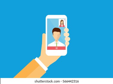 business people chat on video call concept.and people business communication connection concept. flat vector