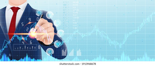 Business people choose trading, investment, business, finance, stock market on the screen showing statistics and business information. Concept business technology in the future for vector illustration