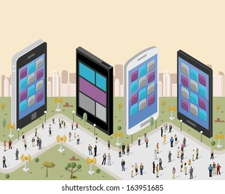 Business people in a city with smart phones