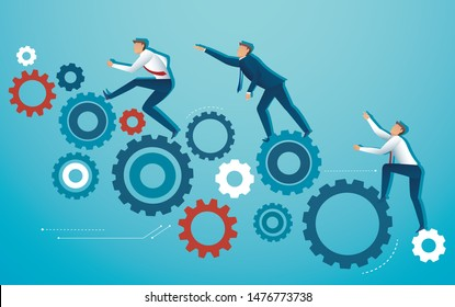 business people  climbing gear cogs wheel vector illustration EPS10
