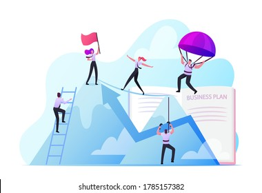 Business People Climbing on Mountain Peak, Walking on Rope, Falling with Parachute. Characters New Heights, Team Work, Working Together for Goal Achievement Concept. Cartoon People Vector Illustration