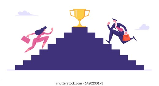 Business People Climbing Stairs with Golden Goblet on Top. Man and Woman Characters Take Part in Business Competition, Goal Achievement, Success, Leadership Concept, Cartoon Flat Vector Illustration