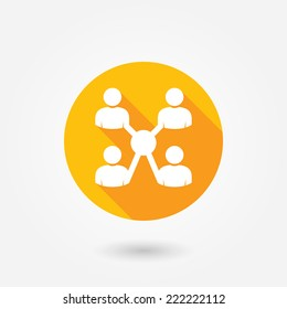 Business people collaboration isolated vector illustration. Social icons