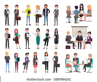 Business people collection wearing formal suits and dresses, meeting seminars, workshops planning of new projects set isolated on vector illustration