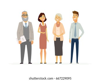 Business People - colored vector modern flat design composition of cartoon characters. Make a great presentation with these senior, middle aged happy and friendly office workers in formal clothes.