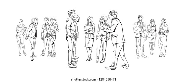 business people communication during meeting, agreement in front of businesspeople discussion colleagues communicating full length concept on white background hand draw silhouette sketch vector