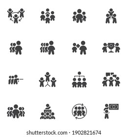 Business people communication vector icons set, modern solid symbol collection, filled style pictogram pack. Signs, logo illustration. Set includes icons as teamwork group, collaboration, team leader