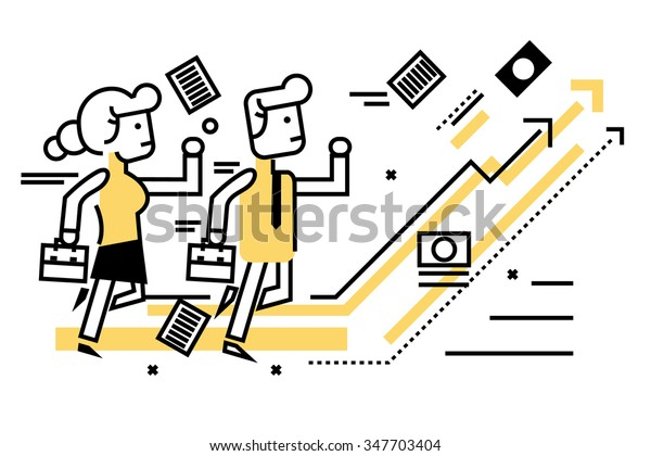 Business people competitive with business on target graph. flat thin line design elements. vector illustration