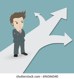 Business people concept.Businessman stand on a crossroads and confused to choose the arrow way.Cartoon character design vector.