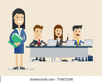 Business people at the conference sitting at the table with laptops. Vector, illustration, flat